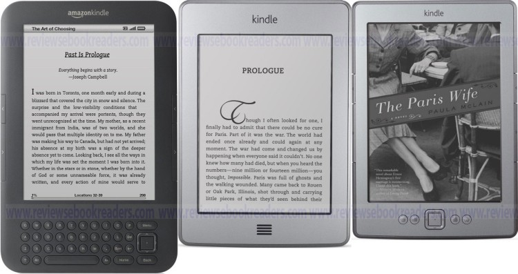 Kindle 3 with keyboard, Kindle Touch and Kindle 4 no touch