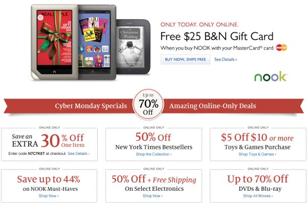 cybermonday Barnes Noble nook